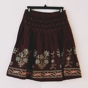 Rampage brown skirt embroidered  size 1